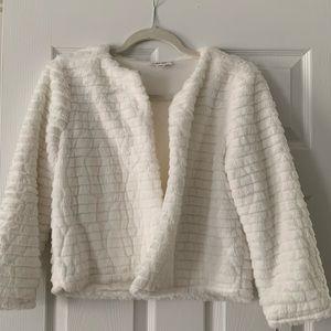 Calvin Klein ivory fur jacket